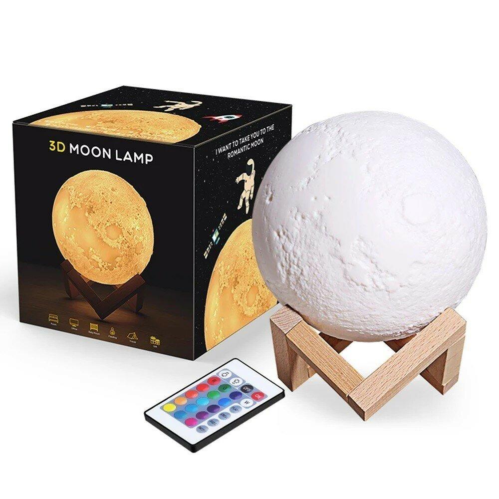 3D Светильник Лампа Луна - 3D moon lamp, 15 см с пультом, белый