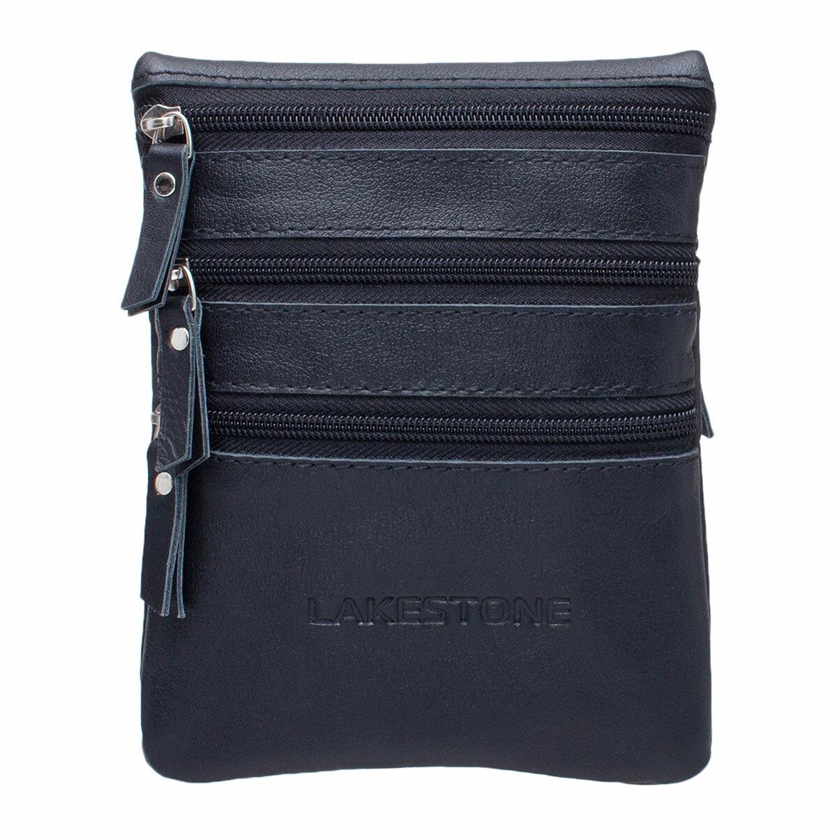 Небольшая сумка через плечо Wesley Black мужская кожаная черная