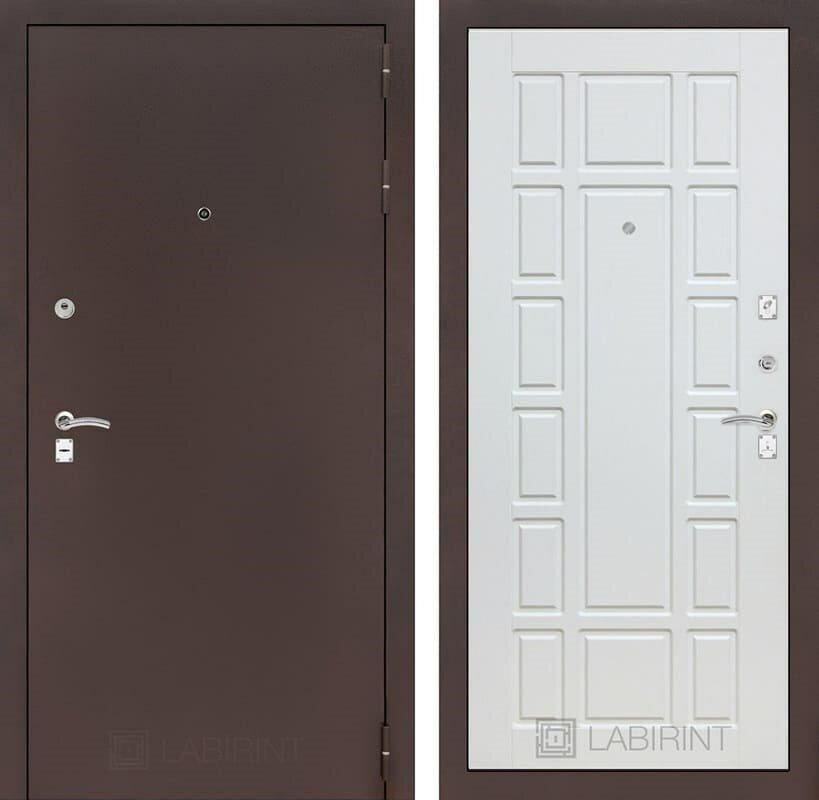 Входная дверь Лабиринт Классик 12 (Антик медный / Белое дерево) Белое дерево