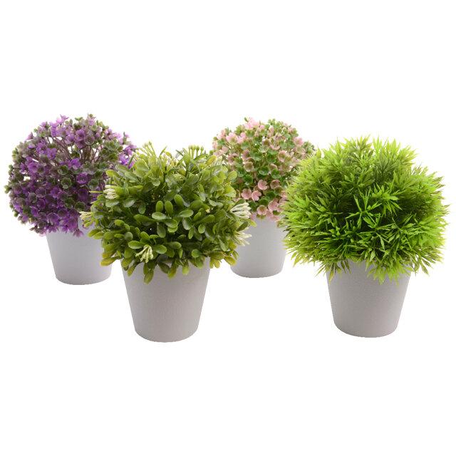 растение искусственное в горшке Самшит 14см цвет