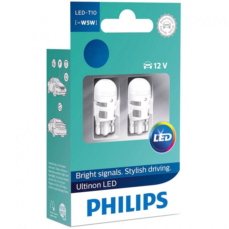 Лампа светодиодная PHILIPS T10 W5W 12V-1W W2,1x9,5d LED 4000K, 2шт, 11961ULW4X2