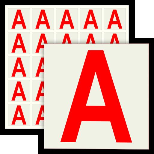Наклейка буква «А» на аварийный светильник, B93 (пленка, 30х30 мм, блок 25 штук, 170х170 мм)