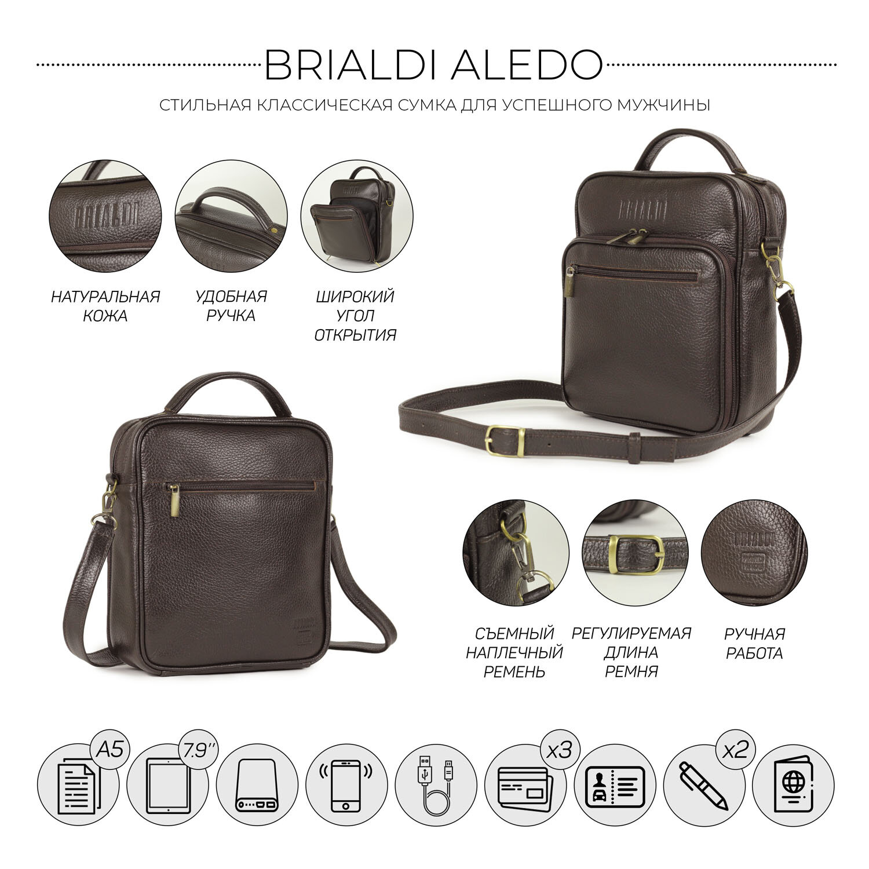 Кожаная сумка через плечо BRIALDI Aledo (Аледо) relief brown