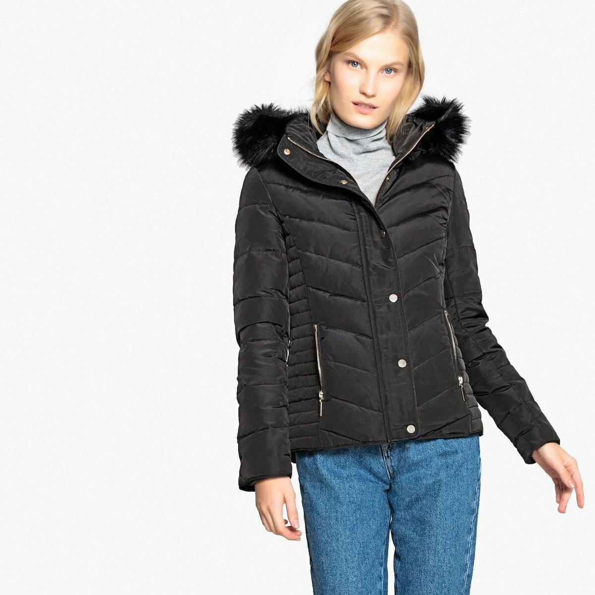 Куртка La Redoute Длинная с наполнителем из натурального пуха 42 (FR) - 48 (RUS) черный