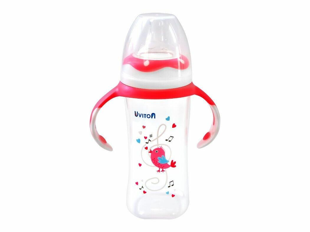 Бутылочка для кормления UVITON с широким горлышком, с ручками 270мл розовый