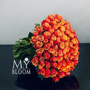 Букет 101 розово-желтая двухцветная роза
