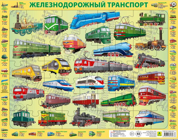 Пазл РУЗ Ко Железнодорожный транспорт России 63 шт.