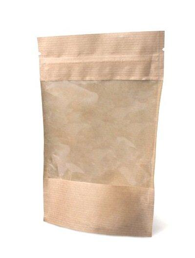 Крафт пакет дой-пак зип-лок 135*225мм с окном. В упаковке 100шт.