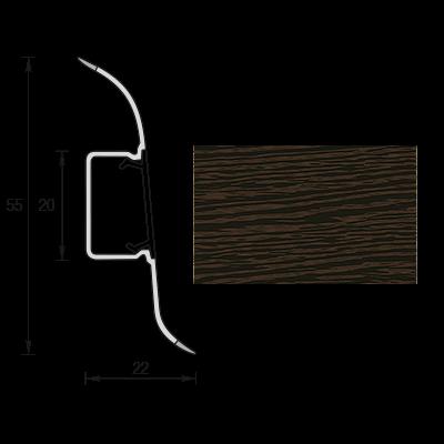 Плинтус напольный Кабель-Канал 55мм 2,5м Идеал-Комфорт (ПВХ) - венге черный