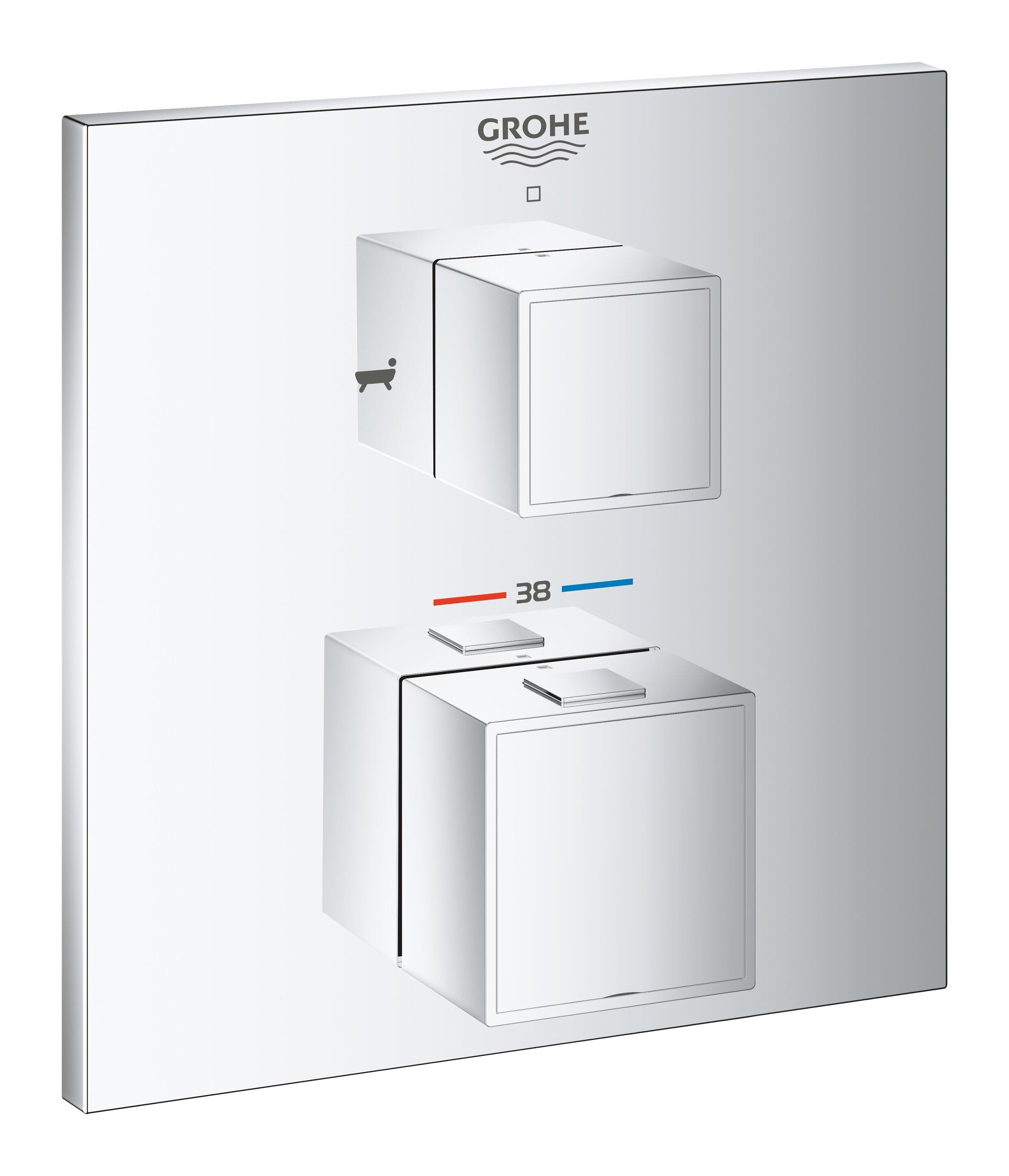Внешняя часть термостататического смесителя для душа GROHE Grohtherm Cube с переключателем на 2 положения верхний/ручной душ, хром (24155000)