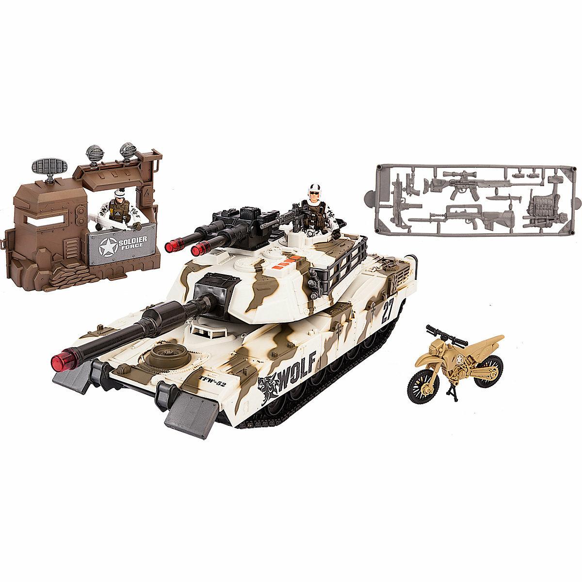 Chap Mei Игровой набор: Тундровый патрульный танк, с фигурками, мотоциклом и оружием, свет и звук