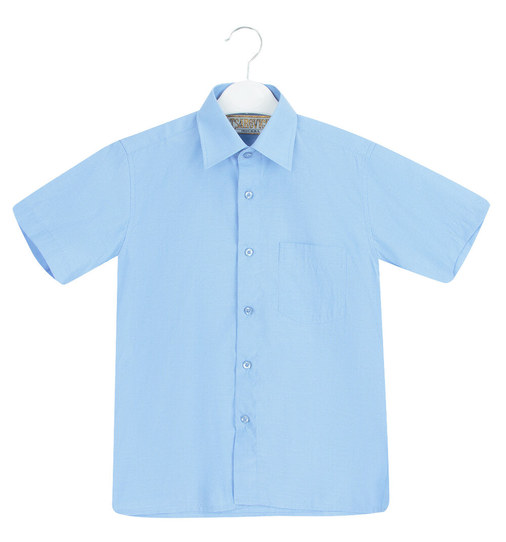 Рубашка Tsarevich цвет: голубой, для мальчиков, размер 122