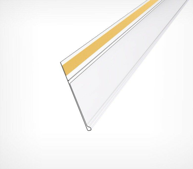 Ценникодержатель стеллажный пластиковый самоклеящийся 39 мм полочный DBR39 цвет Прозрачный