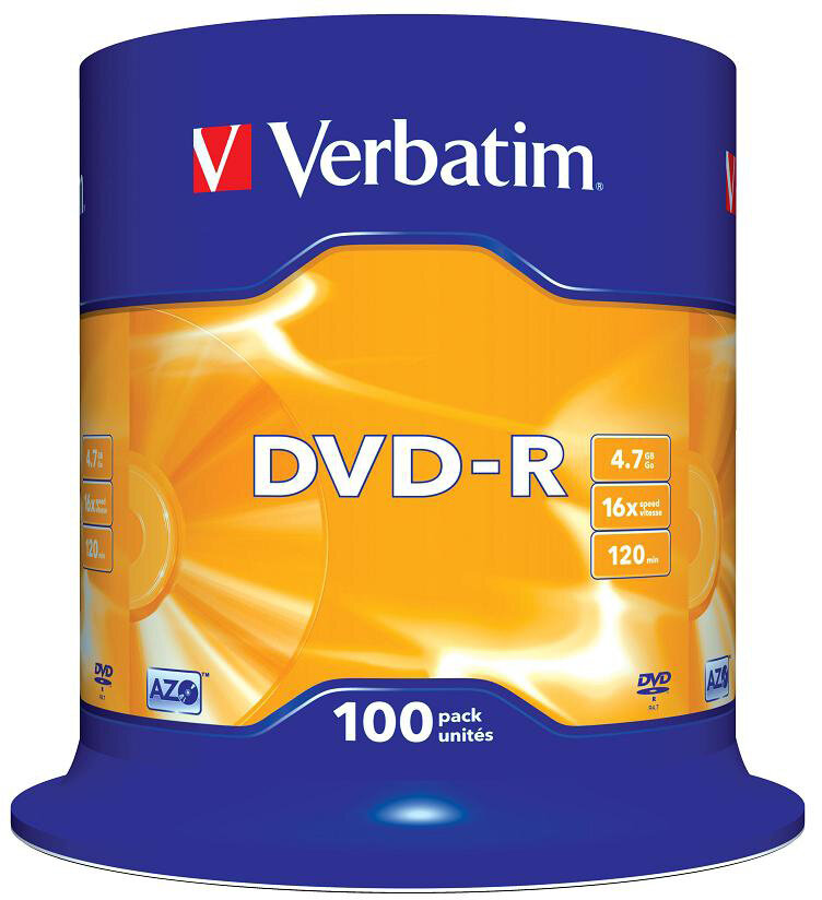 DVD-диск Verbatim 4.7 Gb, 16x, Cake Box (100шт)