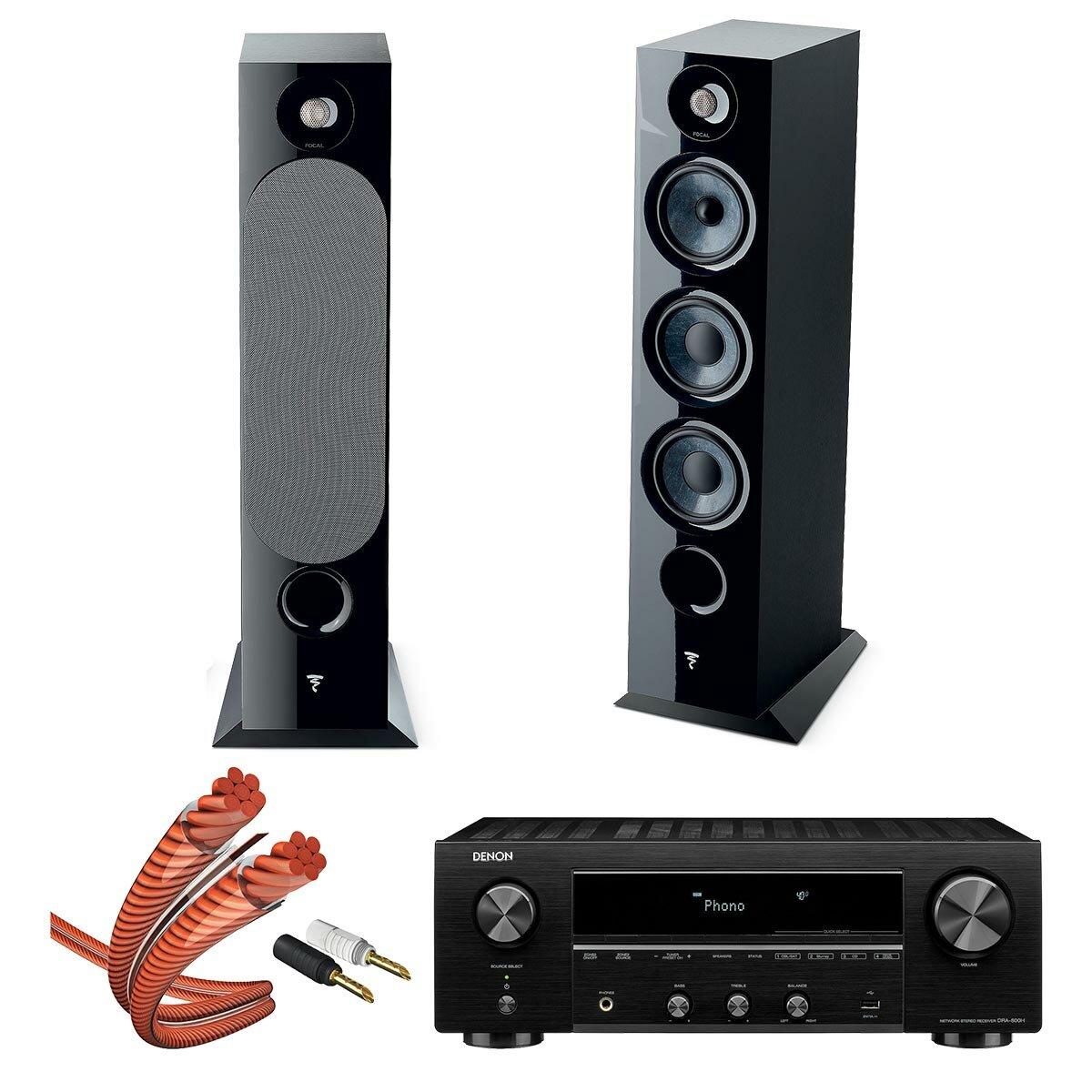 Комплекты с напольной акустикой Focal Chora 826 black + Denon DRA 800H Black + In-Akustik 00604S033, 2.5м