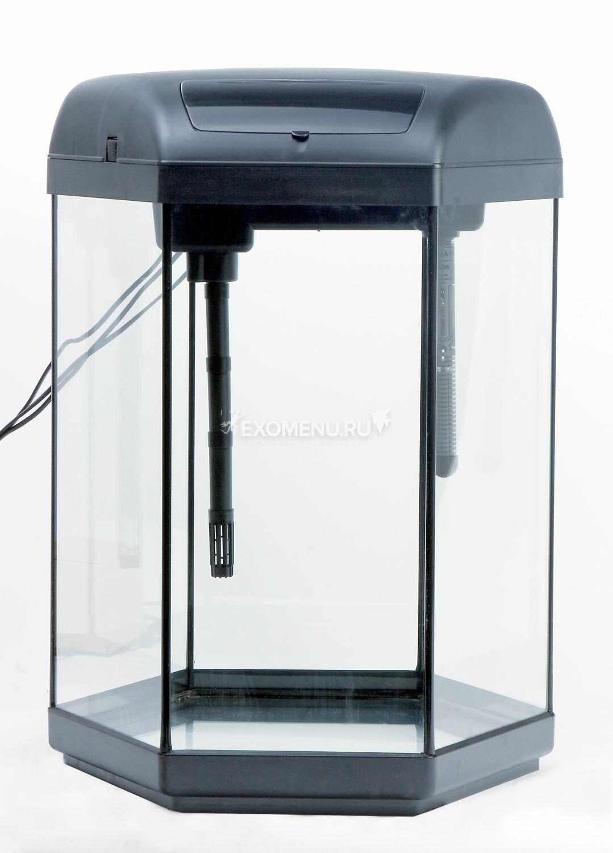 Aквариум HEXA SET 60L укомплектован встроенным фильтром, обогревателем
