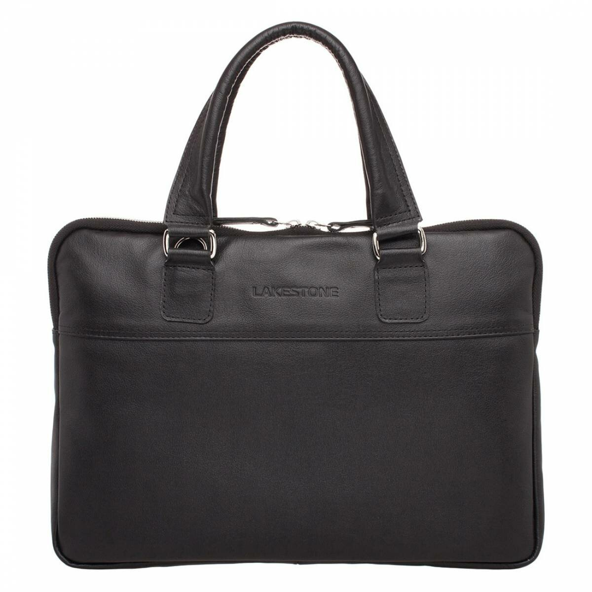 Деловая сумка Anson Black мужская кожаная черная