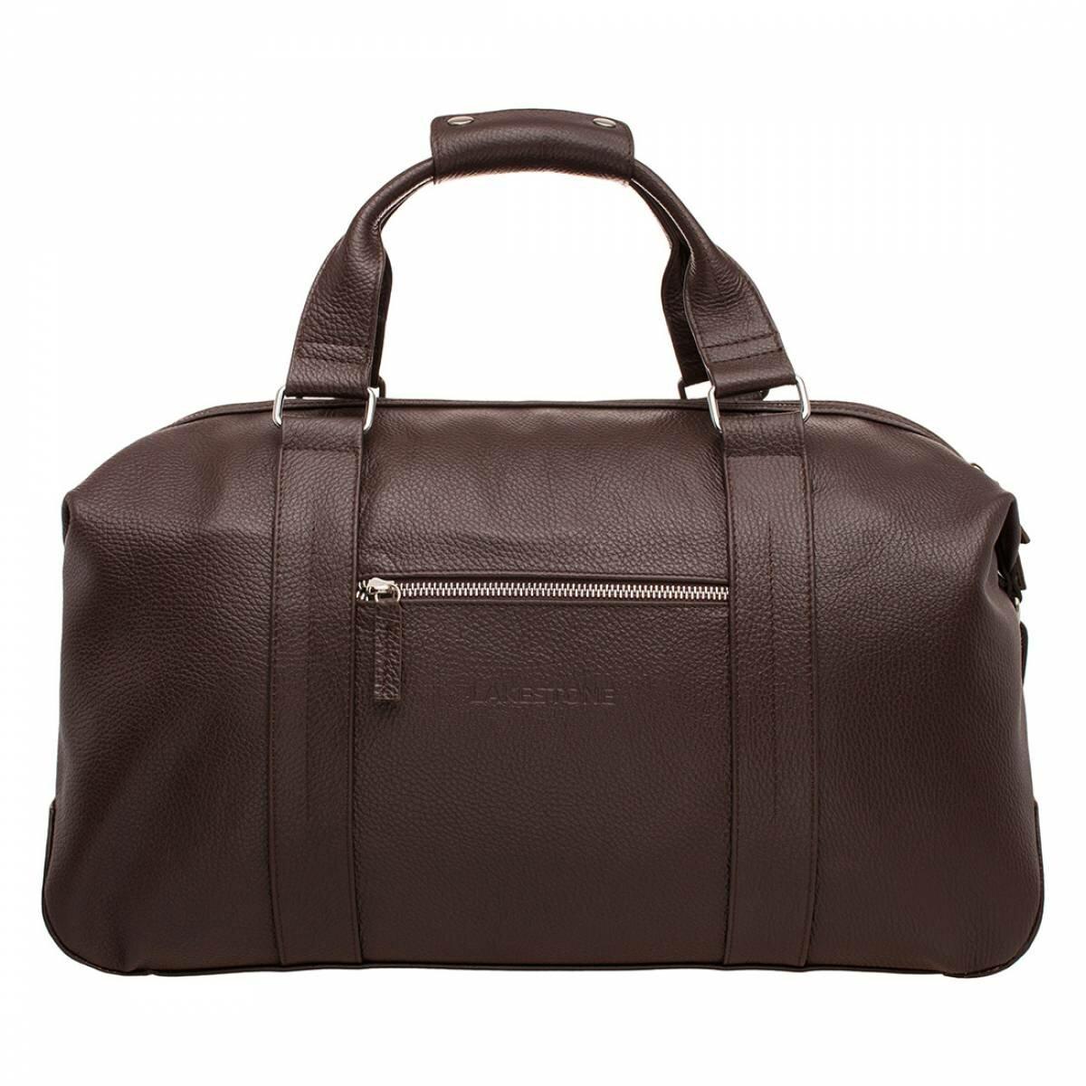 Дорожно-спортивная сумка Woodstock Brown мужская кожаная коричневая