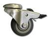 NF-0126 Колесо мебельное D=50мм поворотное под штырь с тормозом, серая резина