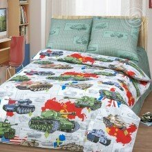 Детское постельное белье 1.5 спальное бязь Танки