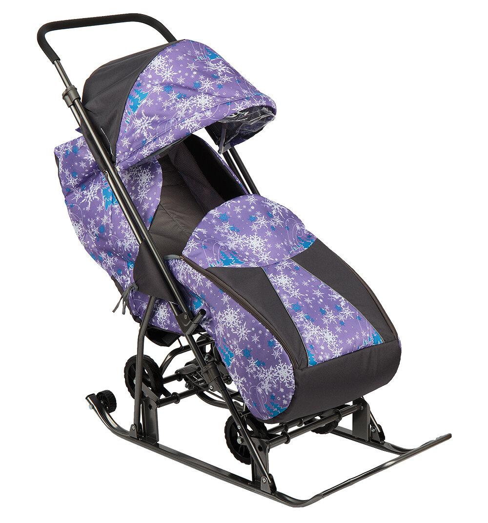 Санки-коляска GALAXY Снежинка Универсал, цвет: елки на фиолетовом