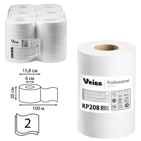 Полотенца для диспенсера VEIRO PROFESSIONAL VEIRO (Система M2) PROFESSIONAL, с центральной вытяжкой , 6 шт./уп., Comfort, 100 м, 2-слойные, белые, KP208
