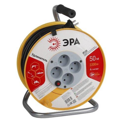 Удлинитель силовой Эра RP-4-2x1.0-50m (Б0017621) 2x1.0кв.мм 4розет. 50м ПВС 10A катушка черный