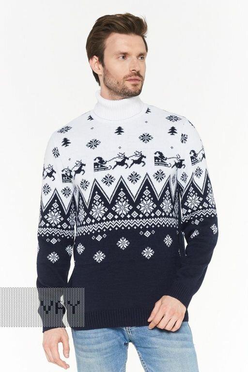 Мужской новогодний джемпер с оленями 192-12202 Family Look 48