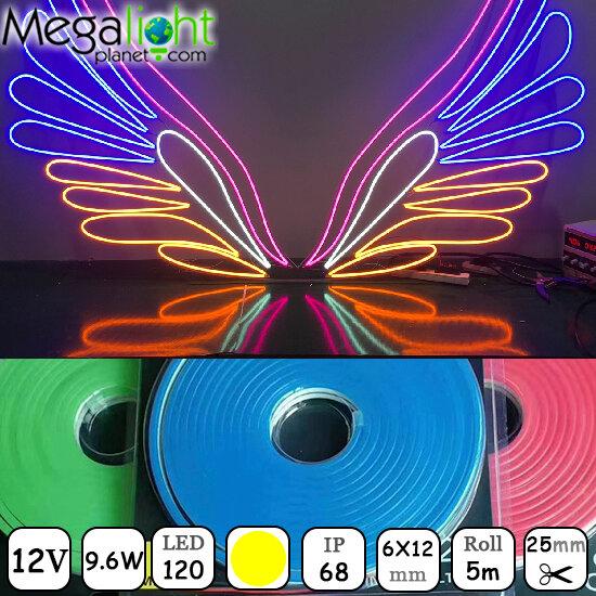 Гибкий неон 6x12mm MINI LED Neon Flex 120LED SMD2835 9.6Вт/м, Х=2,5см DC12V Double Yellow/ Желтый
