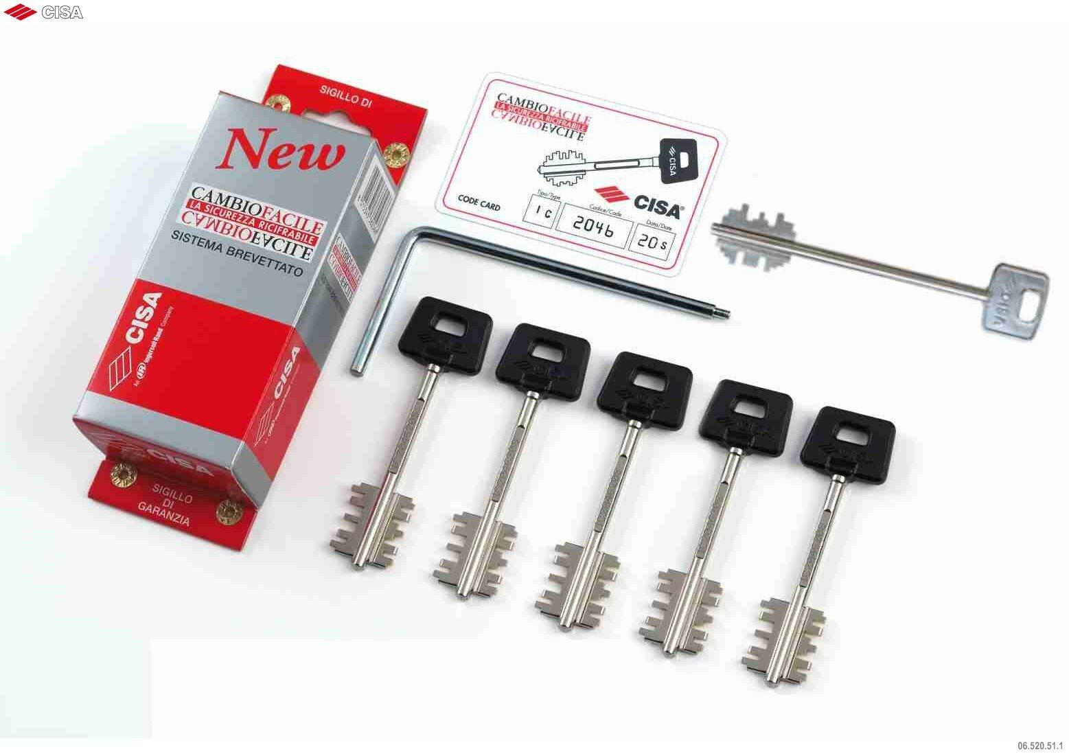 Комплект ключей для кодирования Cisa New Cambio; 06.520.51.1, (5 ключей 00162)