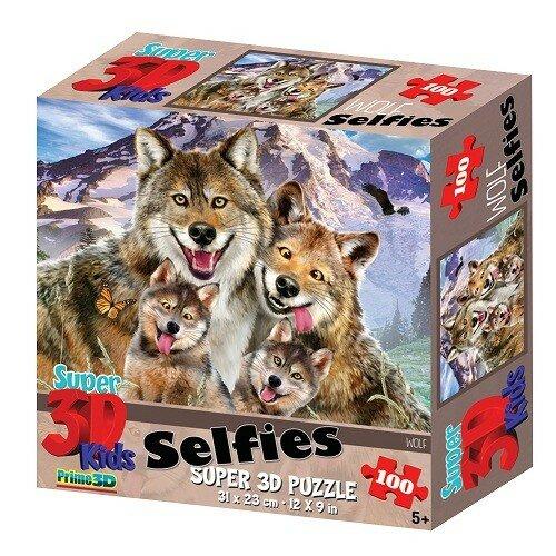 Пазл Prime 3D Селфи волков 100 шт.