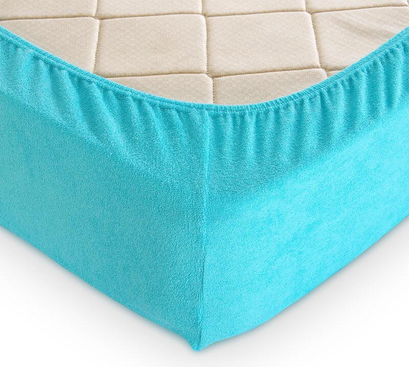 Простыня на резинке Текс-Дизайн арт. 03-0758 Голубой размер 160х200 Махра
