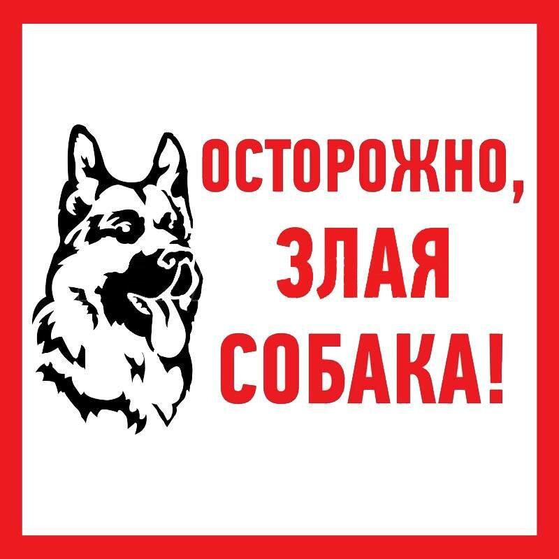 "Наклейка информационый знак Rexant ""Злая собака"" (200x200 мм) {56-0036}"