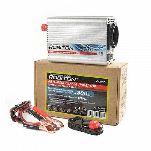 Инвертор автомобильный 12-220В ROBITON CN300W 300Вт на 1 розетку модифицированная синусоида Robiton 1993-02