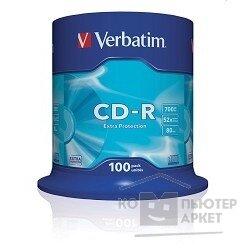 Verbatim Диски CD-R 100 шт. 48 52-x 700Mb, Cake Box 43411