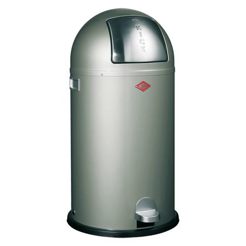 мусорные баки и контейнеры Wesco Металлический бак для мусора с педалью и крышкой Kickboy, 40 л, серый