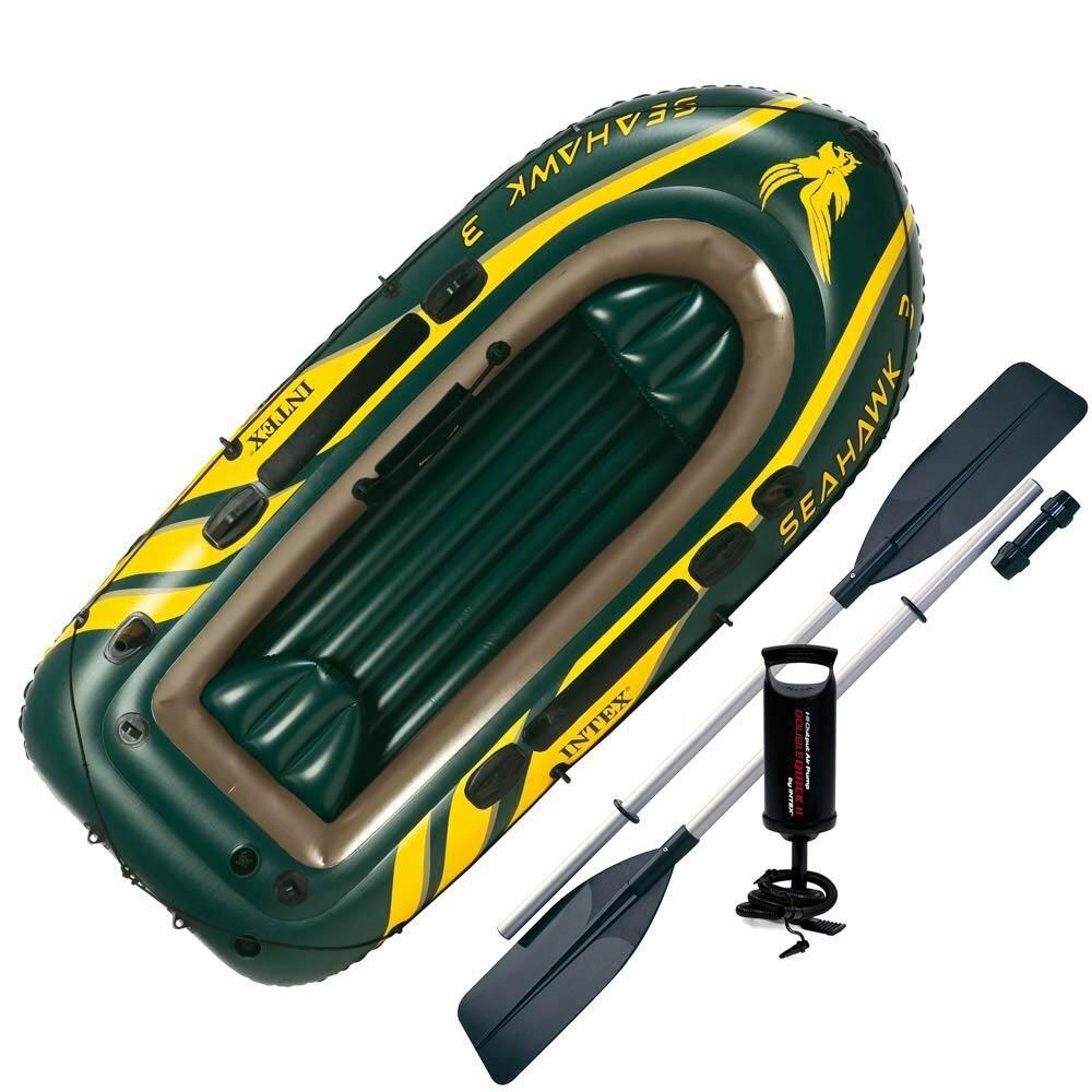 Надувная лодка Intex 68380 SeaHawk 3 Set (Весла+насос)