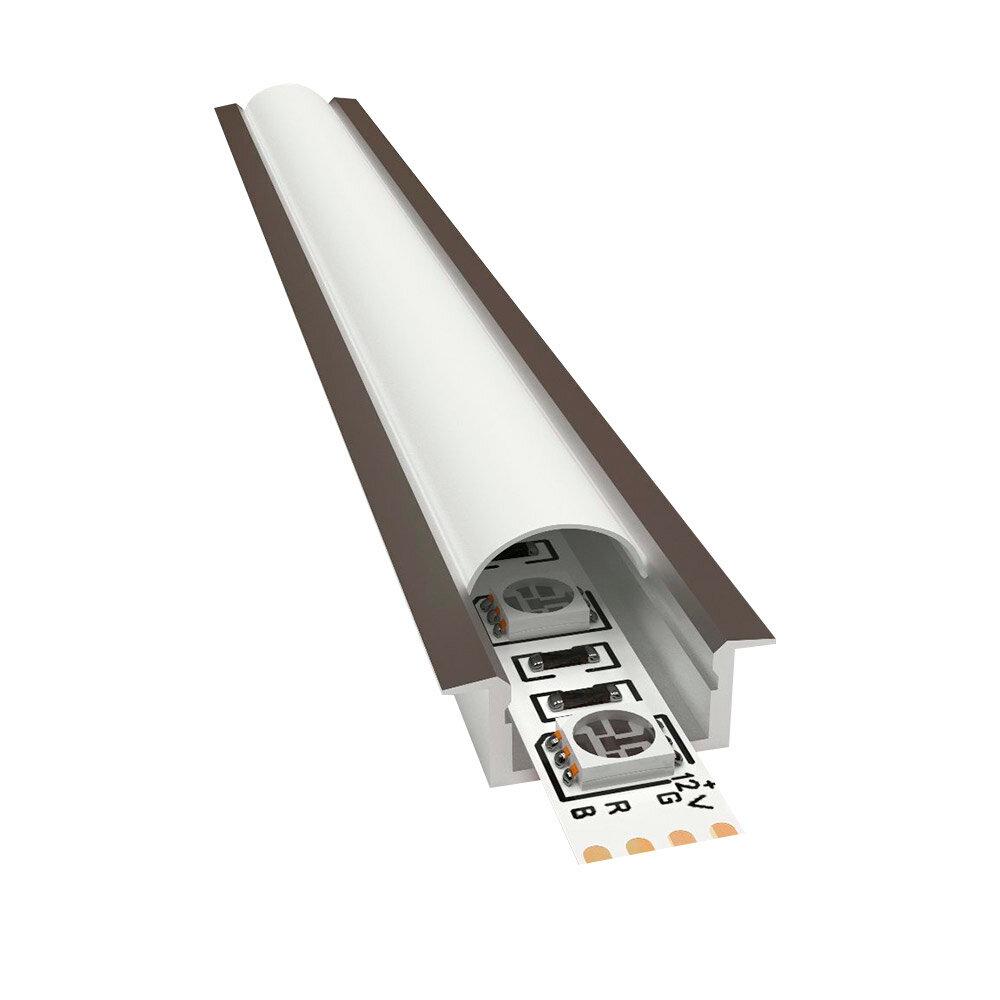 Профиль для светодиодной ленты OGM P8-02 2 м прямой встраиваемый анодированный алюминий комплект