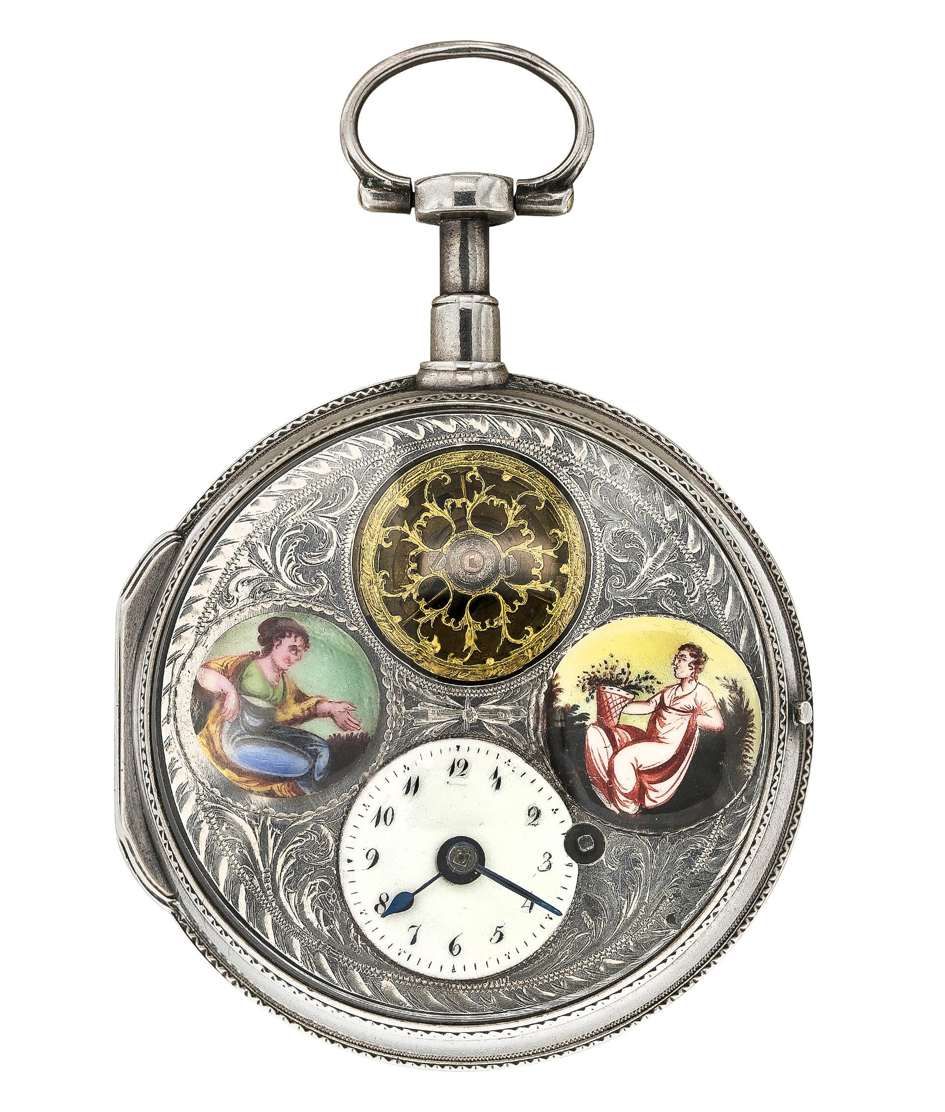 Карманные часы из серебра (начало 19 века)