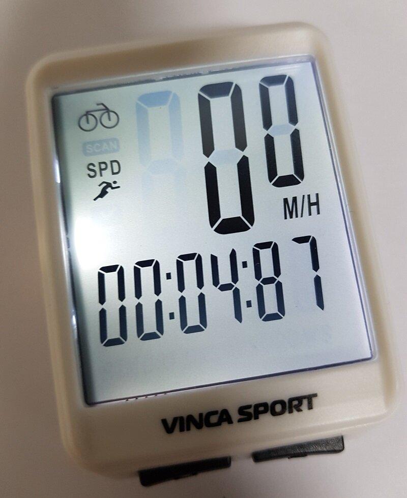 Велокомпьютер беспроводной с подсветкой экрана Vinca sport V 1507 white/black