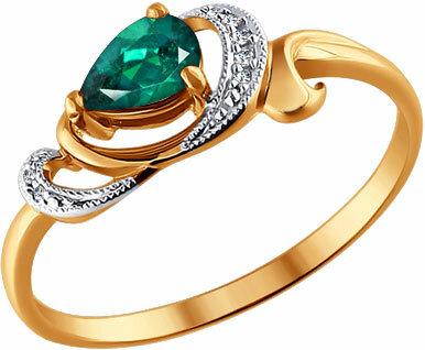 Золотое кольцо SOKOLOV 3010403_s с изумрудом, бриллиантами, размер 17,5 мм