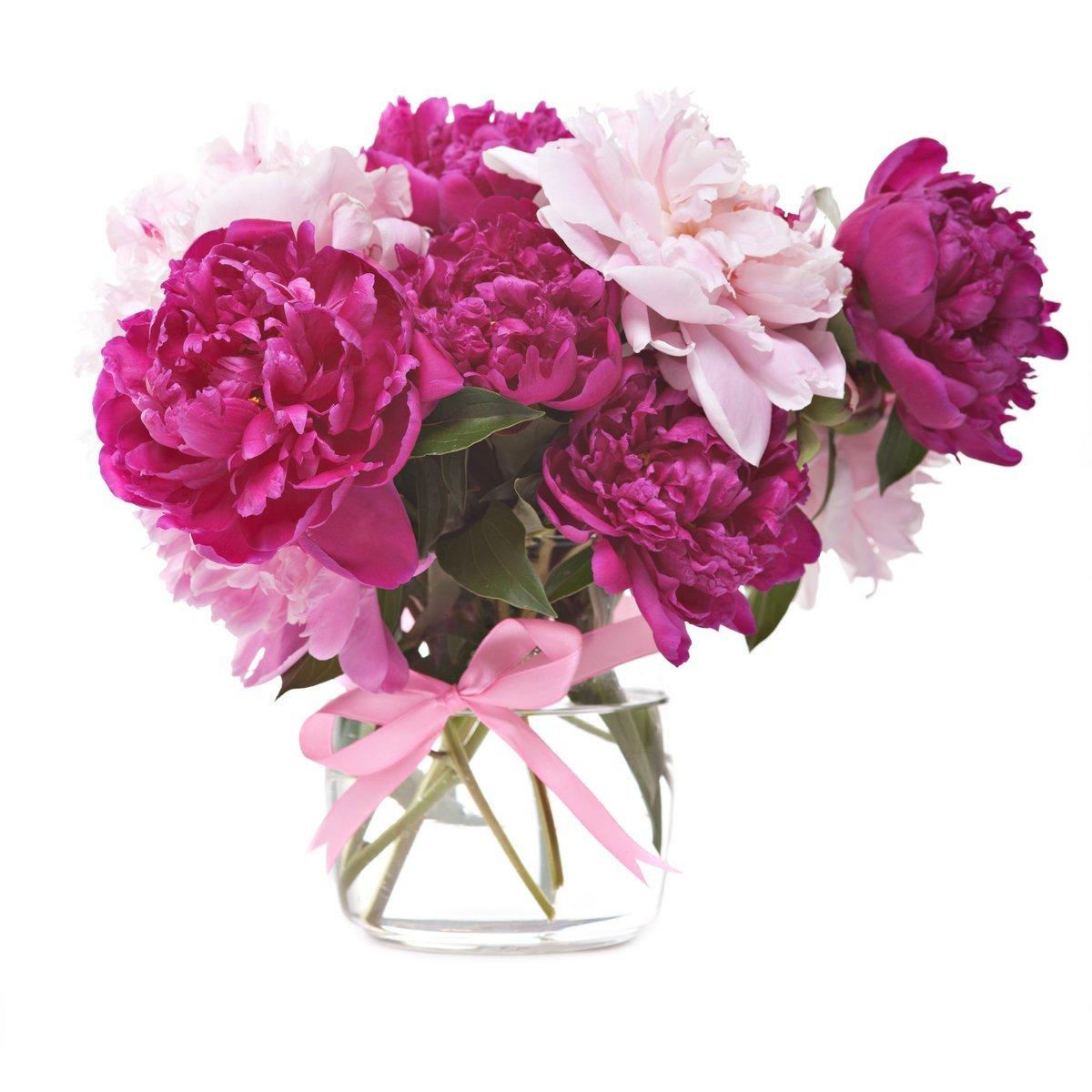 Букет пионов цветет, 20x20 см, на бумаге