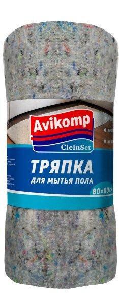Тряпка для мытья пола CleinSet 70х80см в рулоне х/б серая (12)