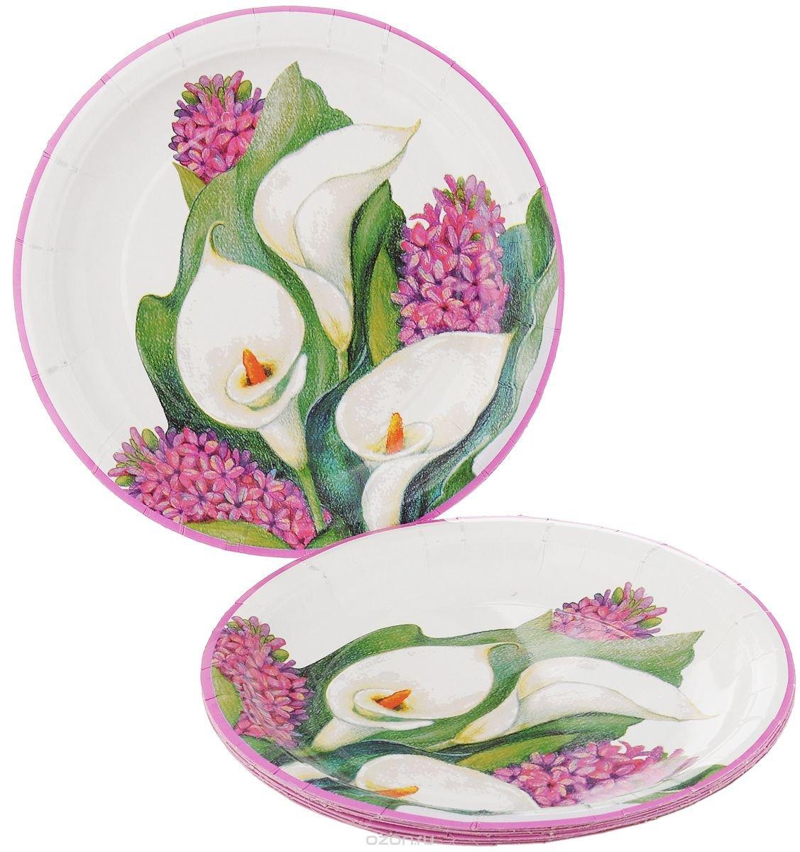 """Набор одноразовых тарелок Bulgaree Green """"Каллы"""", диаметр 22,5 см, 10 шт"""