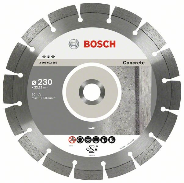 Алмазный отрезной круг Expert for Concrete Bosch 125 x 22,23 x 2,2 x 12 mm (2608602556)
