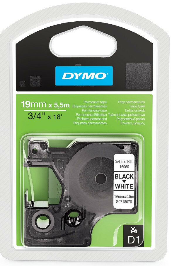 Перманентные этикетки Dymo D1, 3.5 x 19 мм, белые, белый