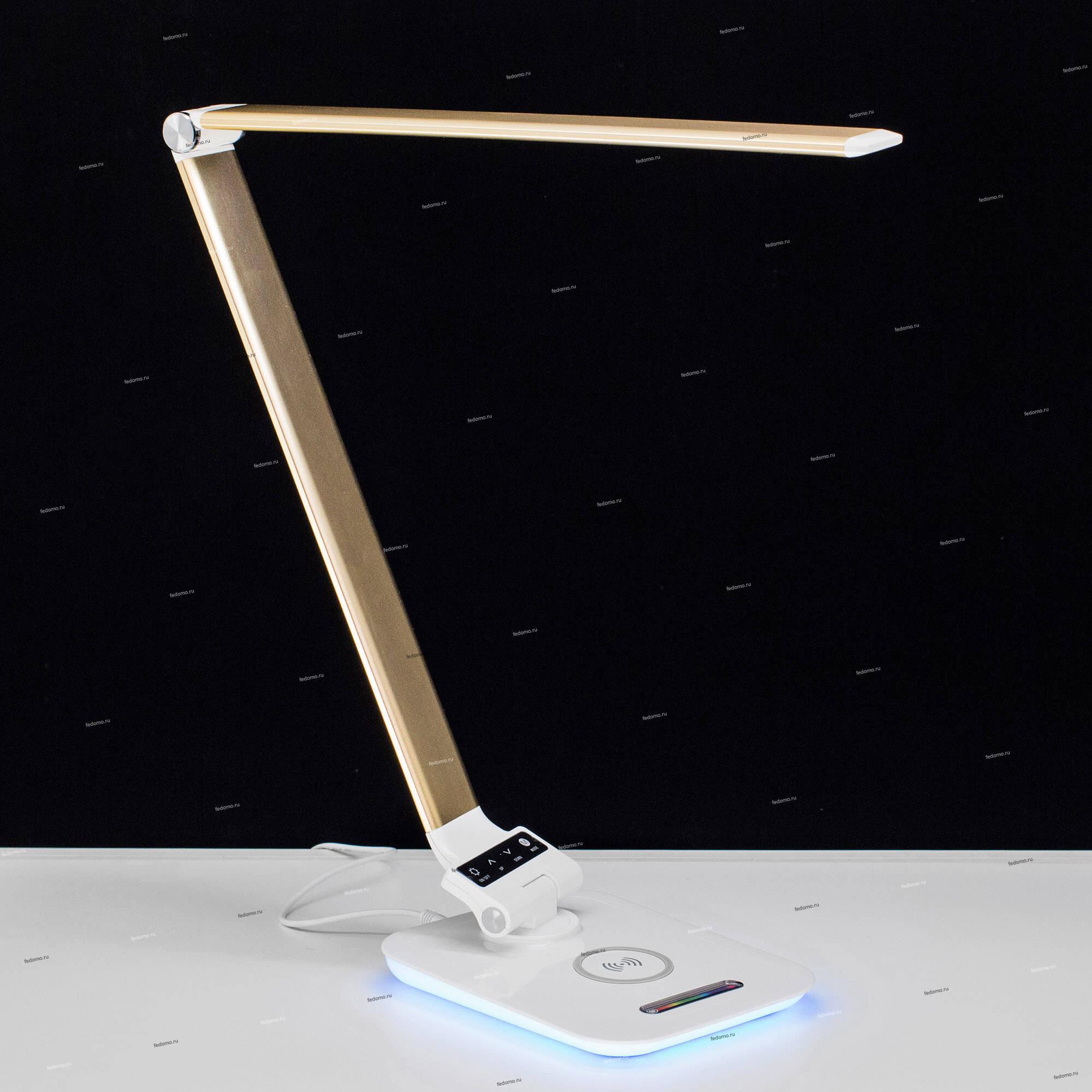 Офисная настольная лампа светодиодная складываемая с регулировкой высоты, RGB, с беспроводным ЗУ, с USB-портом и с сенсорным выключателем золотистая Citilux Ньютон CL803012