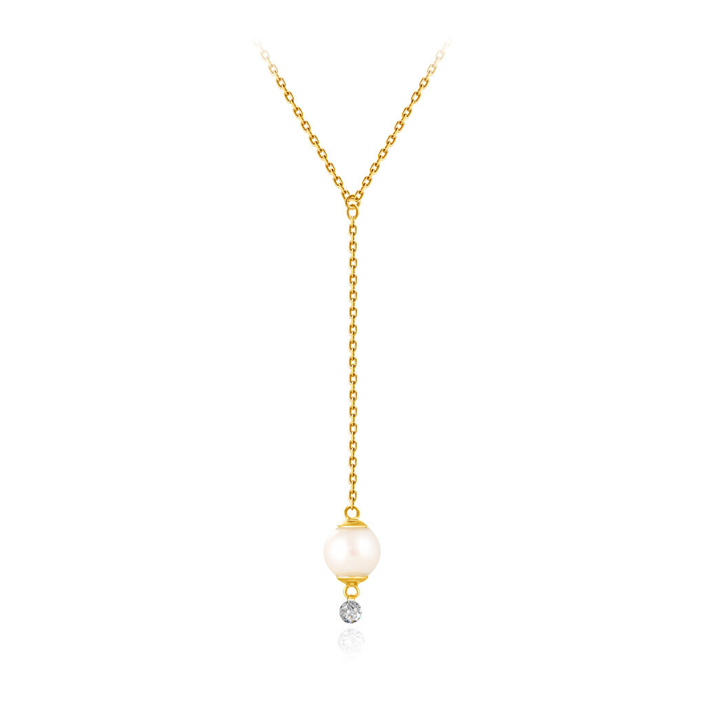 Колье из желтого золота с бриллиантом и жемчугом Акойя
