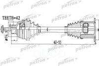 Полуось передняя левая правая 42x463x76,5 audi: a4 07-, a4 allroad 09-, a5 07- PATRON арт. PDS0478