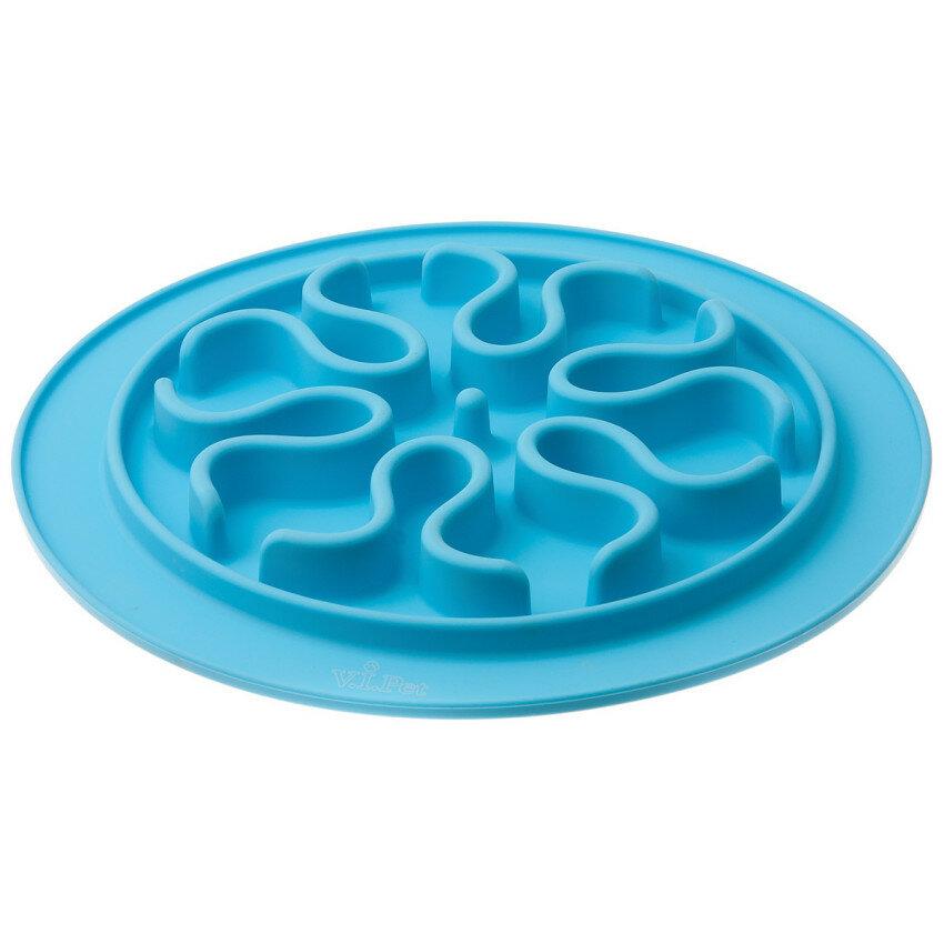 V.I.Pet. Миска силиконовая рельефная, игровая (голубой)